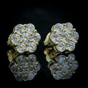 14k Gold Flower Round Cluster Cz Stud Earrings